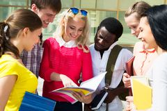 Group of student outdoor royalty free stock photography