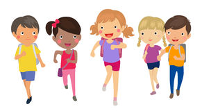 Group of student running with school bags Stock Photos