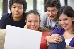 Group of student watching the laptop Royalty Free Stock Photography