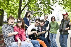Group of student on weekend. Music Stock Image