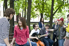Group of student on weekend. Music Royalty Free Stock Photo