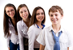 Group of students. Group of happy students on white background Royalty Free Stock Images