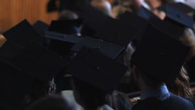 Group of students in academic dress waiting for graduation ceremony in hall. Stock footage stock video footage