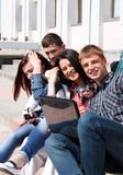 Group students against the background an acad Stock Image