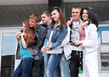 Group students against the background an acad Royalty Free Stock Photography