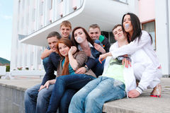 Group students against the background an acad Stock Photo