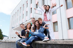 Group students against the background an acad Stock Photos