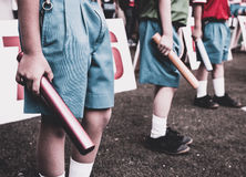 Group of students boy preparing and warm up for relay race boy a. T school sports day. School sports day concept Royalty Free Stock Photo