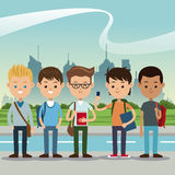 Group students boys back school urban background Stock Images