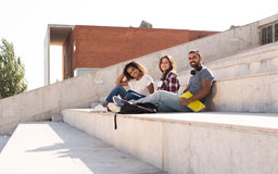 Group of students in Campus Stock Photo