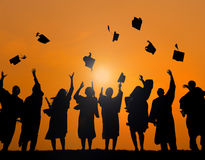 Group Students Celebrating Graduation Silhouette Concept royalty free stock photography