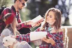 Group Of Students Chatting Together Outdoors Royalty Free Stock Images