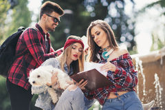 Group Of Students Chatting Together Outdoors Royalty Free Stock Image