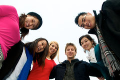 Group of Students in Circle. Group of 6 students outdoor Royalty Free Stock Images