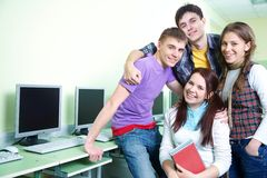 Group of students in classroom Royalty Free Stock Photos