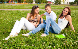Group of students in a clearing on meadow. Small group of students in a clearing on meadow Stock Photography