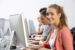 Group Of Students In Computer Class Stock Photo