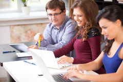 Group of students  in computer lab Royalty Free Stock Photos