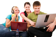 Group of students doing home work Royalty Free Stock Photo