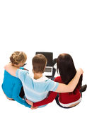 Group of students doing home work. (isolated on white stock image