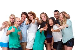 Group of students doing thumbs up. Stock Photos