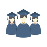 Group of Students In Graduation Gown And Mortarboard. Vector Illustration Royalty Free Stock Image