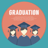 Group of Students In Graduation Gown And Mortarboard. Vector Illustration Royalty Free Stock Photos