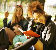 Group of students on grass, prepaing to exam Stock Photography