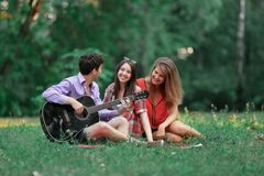Group of students with a guitar relax sitting on the grass in the city Park.  royalty free stock photography