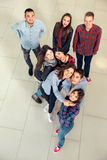 Group of students in the hall of the university, view from above Royalty Free Stock Image