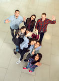 Group of students in the hall of the university, view from above Royalty Free Stock Photos
