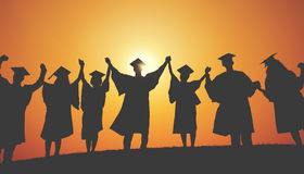 Group Students Hands Raised Graduation Silhouette Concept Royalty Free Stock Photography