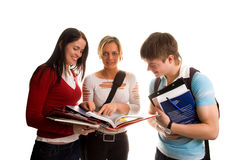 Group of students having fun, doing home work (iso. Lated on white stock photography