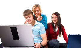 Group of students having fun, doing home work (iso. Lated on white stock photo