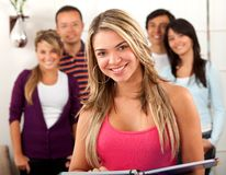 Group of students indoors Royalty Free Stock Images