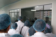 Group of students in laboratory. stock image