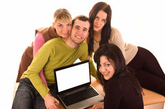Group of students with laptop on white. Background stock image