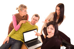 Group of students with laptop on white. Background royalty free stock photo