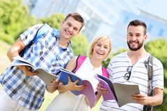 Group of students learning in the park Stock Photography