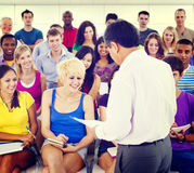 Group Students Lecture Room Education Happiness Concept Royalty Free Stock Photo
