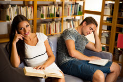 Group of students in library reading books - study group Royalty Free Stock Photography