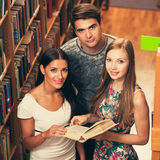 Group of students in library reading books - study group. Searching material to make a paperwork Royalty Free Stock Photos