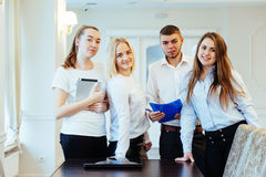 Group of students looking happy and smiling Stock Images