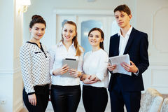 Group of students looking happy and smiling Royalty Free Stock Images