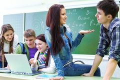 Group of students n classroom Royalty Free Stock Images
