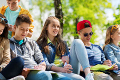Group of students with notebooks at school yard Stock Photography