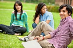 Group of students outdoors Stock Photo