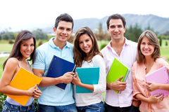 Group of students outdoors Royalty Free Stock Photo