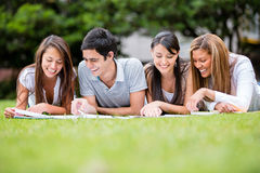 Group of students outdoors Royalty Free Stock Photos