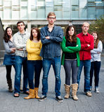 Group of Students Outside. Together serious Stock Photo